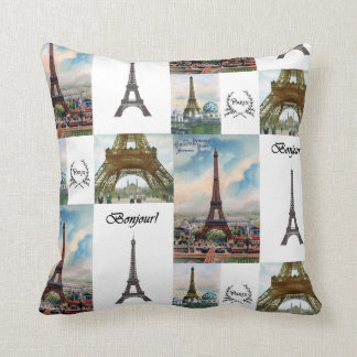 Eiffel Tower Collage Pillow
