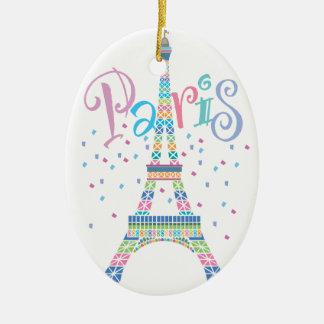 Eiffel Tower Confetti Christmas Ornament