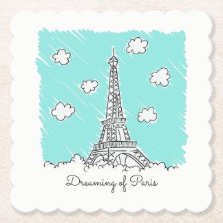 Eiffel Tower custom text paper coasters