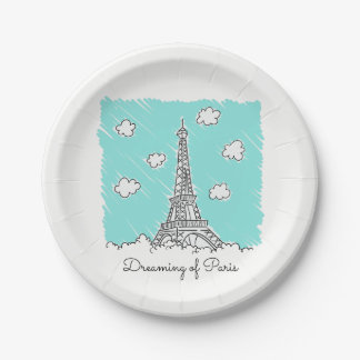 Eiffel Tower custom text paper plates 7 Inch Paper Plate