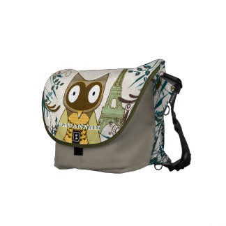 Eiffel Tower Cute Owl You Choose Colors Courier Bags