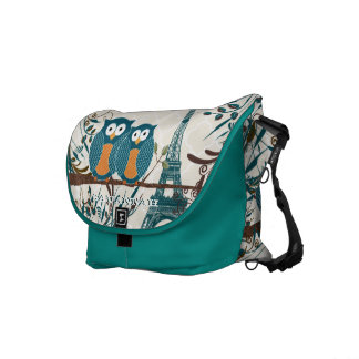 Eiffel Tower Cute Teal Owls You Choose Colors Messenger Bag