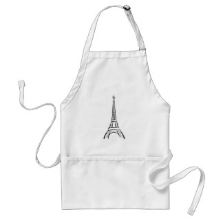 Eiffel Tower Drawing Paris France Landmark Tourism Standard Apron