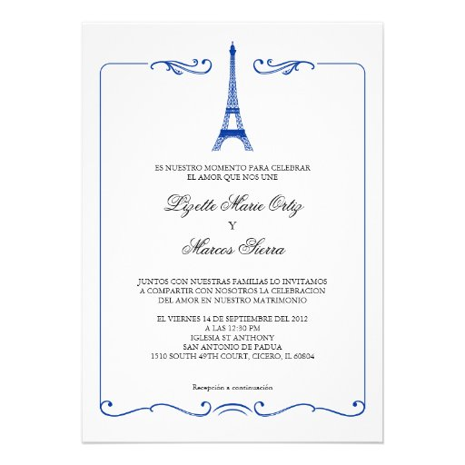 Eiffel Tower Elegant Wedding Invitation