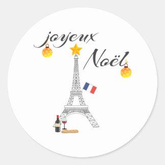Eiffel Tower Flag of France Joyeux Noel Classic Round Sticker