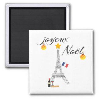 Eiffel Tower Flag of France Joyeux Noel Magnet