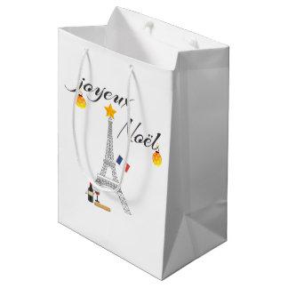 Eiffel Tower Flag of France Joyeux Noel Medium Gift Bag