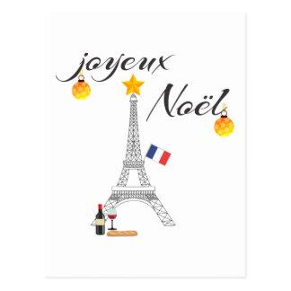 Eiffel Tower Flag of France Joyeux Noel Postcard