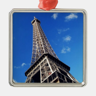 Eiffel Tower France Travel Photography Silver-Colored Square Decoration