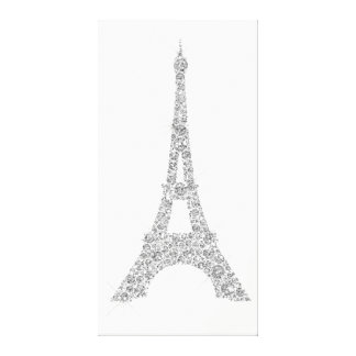 Eiffel Tower French Paris Silver Gray Crystal Canvas Print