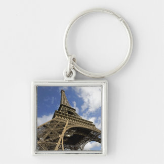 Eiffel tower from low angle Silver-Colored square key ring