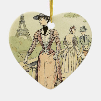 Eiffel Tower from the Exhibition Gardens 1889 Ceramic Heart Decoration