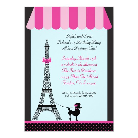 eiffel tower girl birthday invitation. Black Bedroom Furniture Sets. Home Design Ideas