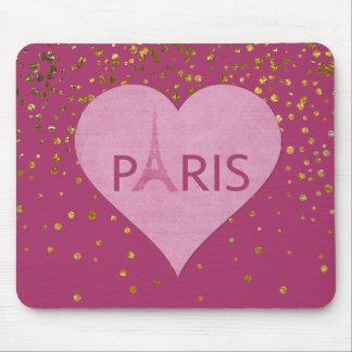 Eiffel Tower Gold Glam Confetti Dots   Paris Mouse Pad
