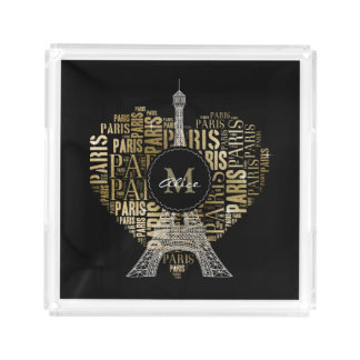 Eiffel Tower   Golden Inscriptions Paris in Heart Acrylic Tray