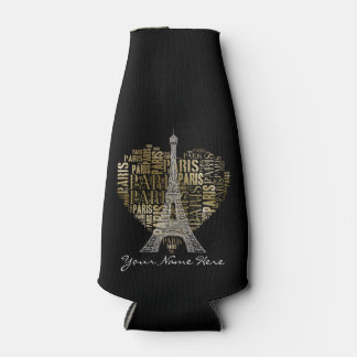 Eiffel Tower | Golden Inscriptions Paris in Heart Bottle Cooler