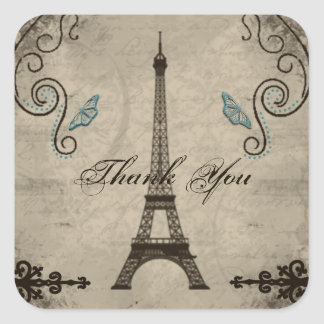 Eiffel Tower Grunge Thank You Sticker