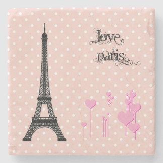 Eiffel Tower, Hearts, Polka Dots - Black Pink Stone Coaster