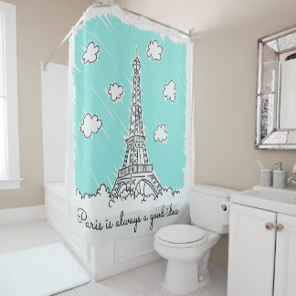 Eiffel Tower Illustration custom shower curtain
