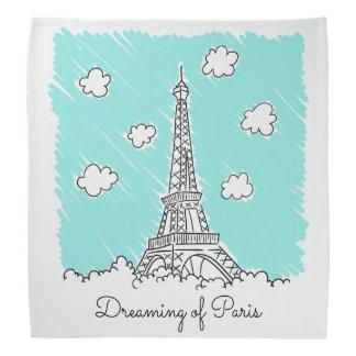 Eiffel Tower Illustration custom text bandana