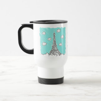 Eiffel Tower Illustration custom text mugs