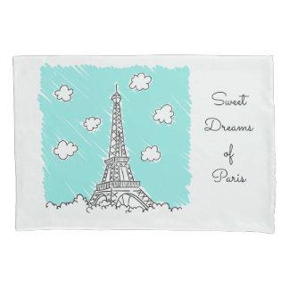 Eiffel Tower Illustration custom text pillowcases