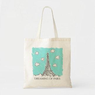 Eiffel Tower Illustration custom text totes
