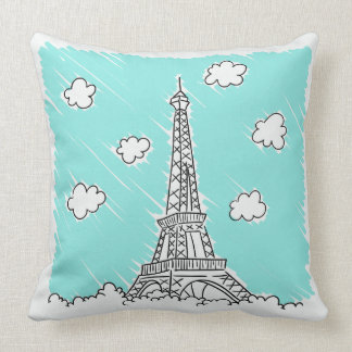 Eiffel Tower Illustration throw pillows
