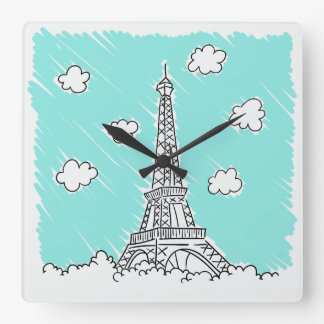 Eiffel Tower Illustration wall clock