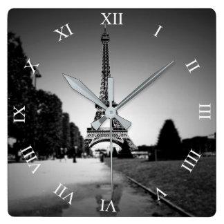 Eiffel Tower In B&W Spotlight Square Wall Clock