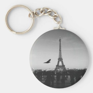 Eiffel Tower in black and white Basic Round Button Key Ring