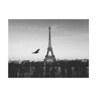 Eiffel Tower in black and white Gallery Wrapped Canvas