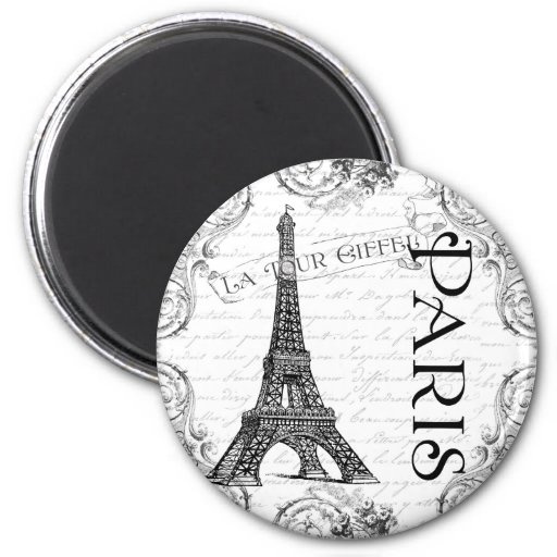 Eiffel Tower in Black and White Fridge Magnets