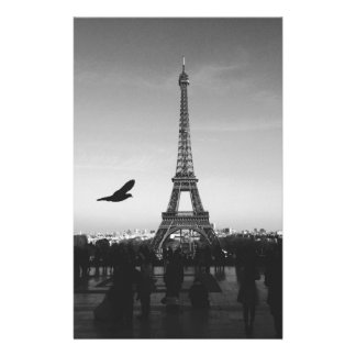 Eiffel Tower in black and white Stationery Paper