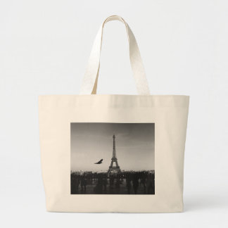 Eiffel Tower in black and white Tote Bags