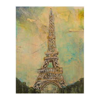 Eiffel Tower in Mixed Media Wood Canvases