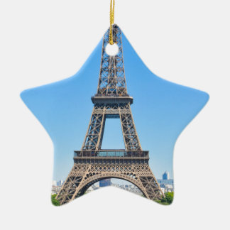 Eiffel Tower in Paris, France Ceramic Star Decoration