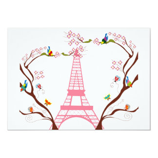 Eiffel tower in spring invitation