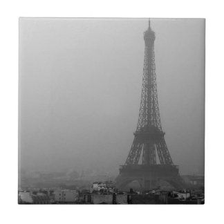 Eiffel Tower in the mist Small Square Tile