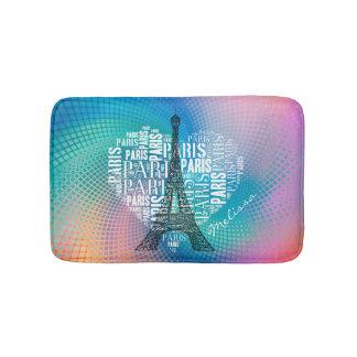 Eiffel Tower & Inscriptions Paris in Heart Bath Mat