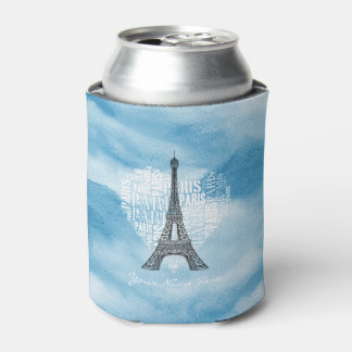 Eiffel Tower & Inscriptions Paris in Heart Can Cooler