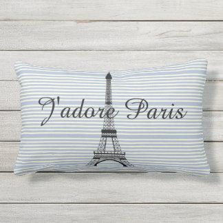 Eiffel tower J'adore Paris blue white stripes Lumbar Cushion