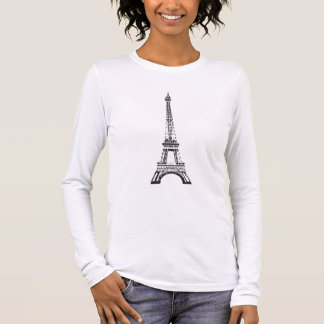 Eiffel Tower, ladies Long Sleeved Fitted T Long Sleeve T-Shirt