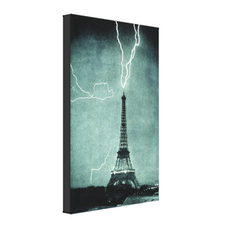 Eiffel Tower Lightning Strike Canvas Prints