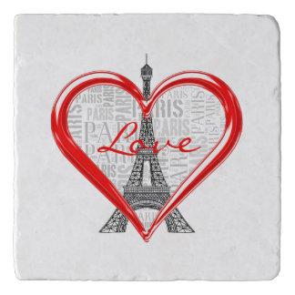 Eiffel Tower | Love Paris in Red Heart Trivet