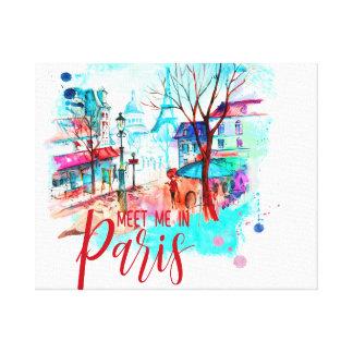 Eiffel Tower Meet Me in Paris Watercolor Splatter Canvas Print