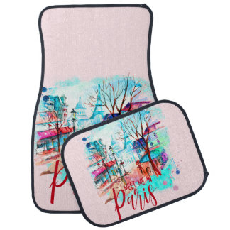 Eiffel Tower Meet Me in Paris Watercolor Splatter Car Mat