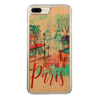 Eiffel Tower Meet Me in Paris Watercolor Splatter Carved iPhone 8 Plus/7 Plus Case