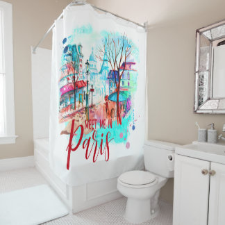 Eiffel Tower Meet Me in Paris Watercolor Splatter Shower Curtain
