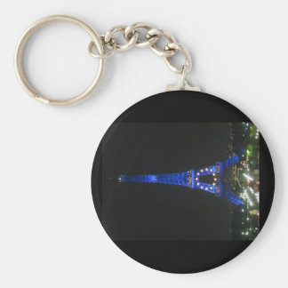 Eiffel Tower Night View Basic Round Button Key Ring